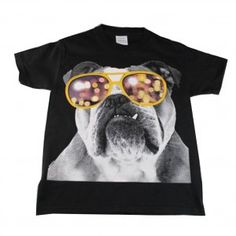 df5e12a09 Big Kids Unisex Black Bulldog Wearing Glasses Print Short Sleeve T-Shirt  6-16