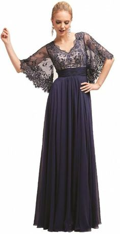 Meier Women's Sheer Sleeve Embrodiery Mother of Bride Evening Dress Navy-XL