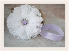 Newborn Toddler Baby Girl White Lace headband on lavender elastic with pearl