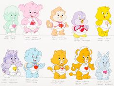 A model sheet used for the Cousin cubs used in Care Bears Movie You can see that some cubs have a few differences like Brave with a Bonnet instead of the little t-shirt and Proud Heart without her bonnet. Baby Memories, Childhood Memories, Care Bears Movie, Care Bears Vintage, Care Bear Party, 1980s Childhood, Bear Valentines, 3d Pen, Bear Art