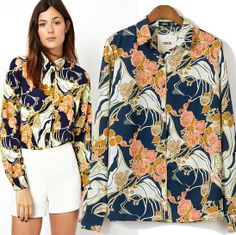 Drop shipping women vintage printed floral chiffon blouse long sleeves branded designer ladies shirt lapel tops for woman CSH101 $10.78