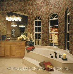 Grimaldi Court-Mediterranean House Plan- Sater Design .Collection. DONT LAUGH,NO WALLPAPER AND DEMO EVERYTHING. BETTER LAYOUT COLUMNS ETC AND A TUB AND VANITIES AND ALSO LONE STANDING SHOWER ,BETTER QUALITY MATERIALS,THEN GREAT DECOR.CHERIE