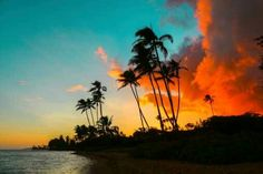 Would love to sit out, sipping a pina colada with this sunset :)