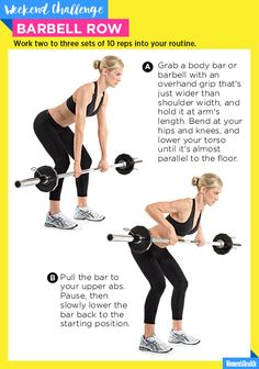 The One Move You Need for a Bangin' Upper Back  http://www.womenshealthmag.com/fitness/barbell-row-weekend-challenge