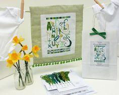 Babys First Name Plate Cross Stitch Sampler Kit by StitchKits,