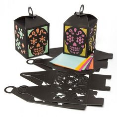 Craft yourself some Day of the Dead Lantern Kits - Each kit includes card lantern template and coloured tissue paper. Lovely as a party decoration!