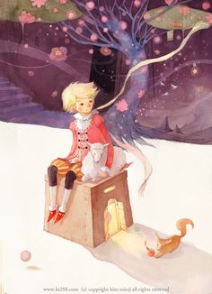 The Little Prince / © Kim Minji - illustrator Children's Book Illustration, Watercolor Illustration, Kim Min Ji, The Little Prince, Illustrations And Posters, Clipart, Traditional Art, Illustrators, Art For Kids