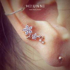 16g CZ sparkling flower ear cartilage stud earring, tragus conch helix piercing barbell, 316L Surgical Stainless Steel, Sold as 1 piece