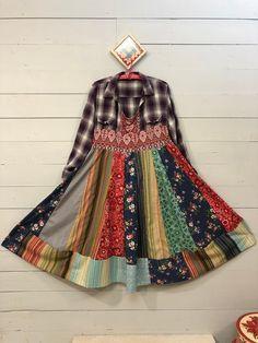 L Lavender Multi-Colored Patchwork Shirt Dress-Print Mix Recycled-Up Cycled Shabby Chic Cotton Dress-Raggandbone-Sz:Large Shirt Refashion, Boho Chic, Shabby Chic, Mixing Prints, Boho Outfits, Refashioning, The Dress, Cotton Dresses, Diy Clothes