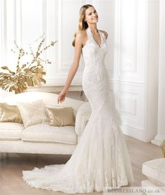 Fishtail Lace Halter Neck Backless Bridal Dress with Appliques