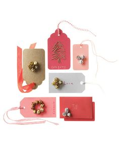 Add extra charm to your Christmas packaging with a little help from the great outdoors. Simply attach tiny pinecones -- pristine or spruced up with metallic floral spray -- to store-bought tags and cards using glue. Holiday Gift Tags, Christmas Gift Wrapping, Christmas Holidays, Christmas Crafts, Christmas Ideas, Holiday Ideas, Merry Christmas, Christmas Decorations, Cute Gifts