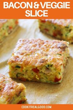 This quick, easy and healthy Zucchini and Bacon Slice is so versatile. Meal prep a batch for the week and use it for breakfast, lunch or dinner! This zucchini slice with bacon is great served hot or cold, so you can also pop it into kids lunch boxes. Lunch Box Recipes, Easy Dinner Recipes, Easy Meals, Lunch Ideas, Zucchini Slice, Healthy Zucchini, Kebabs, Savoury Slice, Savoury Pies
