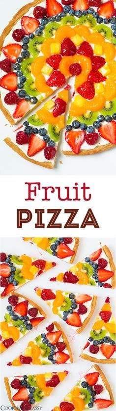 Fruit Pizza - this is one of my favorite summer desserts! Love the sweet cream cheese topping with all the fresh fruit! (recipe for homemade crust and store-bought method included) (Fruit Pizza Recipes) Comidas Light, Fruit Dishes, Fruit Salads, Cookies Et Biscuits, Sugar Cookies, Cream Cookies, Chip Cookies, Love Food, Sweet Treats