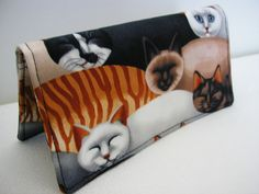 Handmade Fabric Checkbook Cover  Cat Eyes Multi by Joanna1966, $8.00