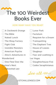 """The 100 Weirdest Books Ever Per Goodreads - - If you've ever wondered """"What do people who prefer reading about celibate vampires, post-apocalyptic teens, and sadistic millionaires. I Love Books, Good Books, My Books, Teen Books, Book Challenge, Reading Challenge, Book Suggestions, Book Recommendations, Requiem For A Dream"""