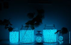 Glühwürmchen-Vasen aus Marmeladengläsern / Firefly vases made of old jam jars / Upcycling