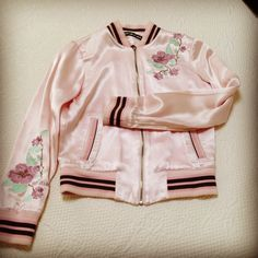 Pink Satin Bomber. I've had this jacket since 2004. I was on the bomber jacket trend 10 years before everyone else #DKNYJeans #2004