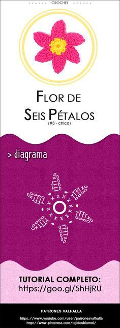 > Descripción  Bonita y fácil flor de seis pétalos a crochet. Perfecta para decorar cualquier tejido o manualidad. Por su tamaño es fácilm...