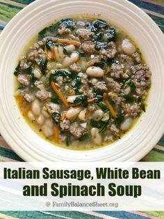 Italian Sausage, White Bean, and Kale (or Spinach) Soup - Family Balance Sheet Add this delicious Italian, White Bean and Kale (or Spinach) Soup to your next meal plan. It's hearty and super easy to prepare. Bean Soup Recipes, Healthy Soup Recipes, Sausage Recipes, Cooking Recipes, Kale Recipes, Drink Recipes, Vegan Spinach Soup, Cream Of Spinach Soup, Kale Soup