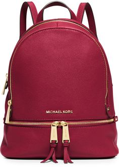 MICHAEL Michael Kors Rhea Small Leather Zip Backpack, Cherry