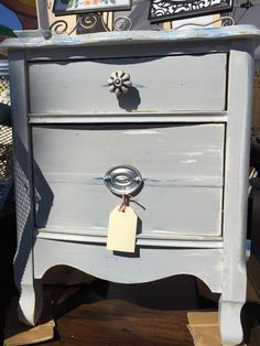 Cute 2-drawer chest/nightstand for sale by Shabby Restore (www.shabbyrestore.com) today at the Treasure Island Flea in San Francisco. #shabby #restore