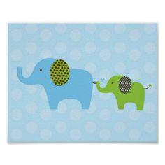 Elephant Parade Blue Green Nursery Wall Print