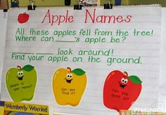 Preschool Circle Time Activities for Fall - Play to Learn Preschool Apple Theme, Preschool Names, Name Activities, Fall Preschool, Preschool Literacy, Autumn Activities, Preschool Apples, Preschool Ideas, Kindergarten Apples