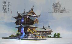 洛克猴中国风建筑设计 , Eart CG on ArtStation at https://www.artstation.com/artwork/z04Z6