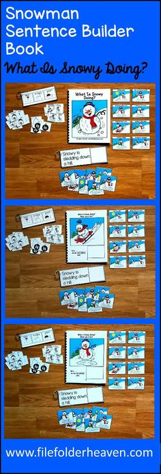 """This Snowman Sentence Builder Book, """"What Is Snowy Doing?"""" focuses on identifying action words, building sentences, and sentence comprehension. In a small group, the teacher or therapist reads the story as students follow along and match the correct action to each page. Sample Text: """"What is Snowy doing? What can it be? He's.... __________ (sledding down the hill) as we can plainly see"""""""