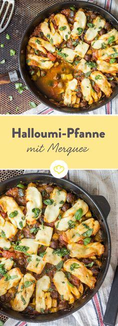 Knackige Zuchhini mit würziger Merguez, überbacken mit knusprigem Halloumi:Mit wenigen Handgriffen zum farbenfrohen Abendessen wie aus 1000 und einer Nacht.