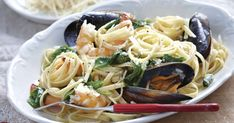 This simple dish combines the subtle flavours of prawn and mussels with pasta.