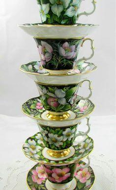 Sada šálků na kávu • zelený, malovaný porcelán