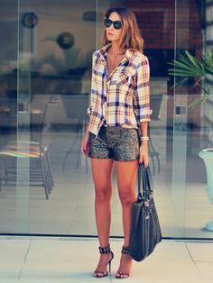 Xadrez + Paetê ( Graphic Shirts & Blouses & Sequins Shorts )