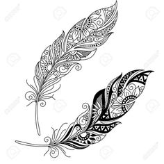 Vector Peerless Decorative Feather, Tribal Design, Tattoo Royalty Free Cliparts, Vectors, And Stock Illustration. Feather Vector, Feather Tattoo Design, Tribal Tattoo Designs, Feather Tattoos, Tribal Tattoos, Tatoos, Tattoos Skull, Design Tattoo, Mandala Feather