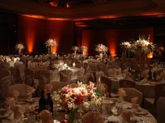 Fabulous setup at this #orange #uplighting #wedding #reception! #diy #diywedding #weddingideas #weddinginspiration #ideas #inspiration #rentmywedding #celebration #weddingreception #party #weddingplanner #event #planning #dreamwedding. Nice photo via #bestweddingdecor
