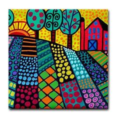 65% Off- Landscape art Tile Ceramic Coaster Mexican Folk Art Print of painting by Heather Galler
