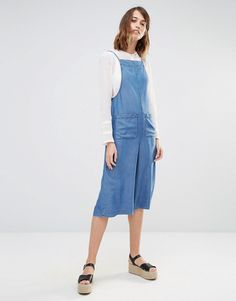 Warehouse Strappy Culotte Jumpsuit in denim
