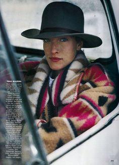 US Vogue October 1989 true west Model: Tatjana Patiz Ph: Arthur Elgort Fashion Editor: Grace Coddington Hair: Gabriele Vigoretti makeup: Sonia Kashuk