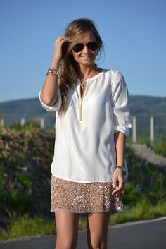 relaxed sequined skirt