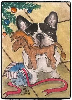 ACEO original watercolor French Bulldog holiday xmas gift by F.De Santis #Miniature