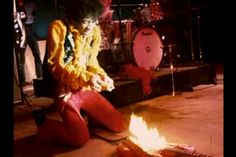 """Jimi burning the guitar during """"Wild Thing"""" at the Monterey Pop Festival in 1967"""