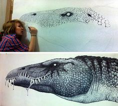 This enormous pen drawing of a Baryonyx dinosaur measures 1.2 x 2.1 metres, and took over 70 hours to complete. It was the dramatic conclusion to a Year 11 high school Art project.