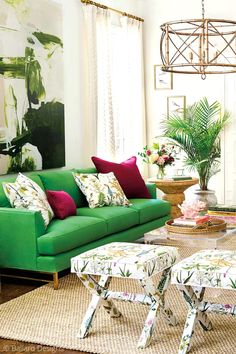 Ever considered floral upholstery, like these floral benches for extra seating? Ready to brighten up a dull room? Try using floral prints and floral textiles to bring life to a boring room, from textiles like throw pillows, floral curtains, or floral wallpaper, to bold prints like floral rugs or even in your upholstery, like a floral print sofa, headboard, armchair or ottoman. Learn how to use florals in interior design and even how to mix floral prints. Hadley Court Interior Design blog.