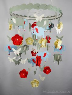 Elephant, Flower and Butterfly Nursery Decorative Mobile with Leaves