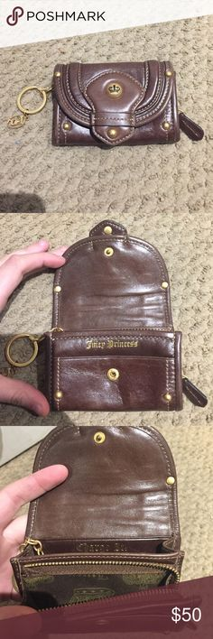 """Juicy Couture Brown Leather Wallet This leather wallet matched everything! It is simple and small. Perfect to pair with a small purse. Comes with a key chain. Bad lighting but the inside of the wallet says """"Juicy Princess"""" and """"Charge it!"""" Juicy Couture Bags Wallets"""