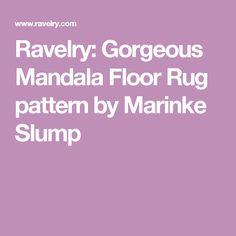 Ravelry: Gorgeous Mandala Floor Rug pattern by Marinke Slump