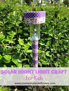 Solar Nightlight Craft for Kids- This frugal DIY craft idea is a great way to repurpose solar lawn lights. Kids will love using these portable nightlights in he garden and in your home! Decorate them to match your child's room decor.