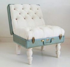 A DIY project for an unusual occasional chair repurposing hard sided luggage... Fun for a child's room perhaps?