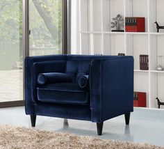 MERIDIAN FURNITURE- The Navy Blue Taylor Arm Chair is a perfect piece for any room! It has a tight back design and button tufts on the back. . Also available as a Living Room Set - Sofa, Love Seat and Arm Chair. Pillows included!