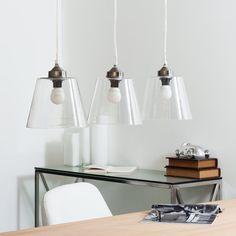 Lámpara de techo triple de cristal ...
